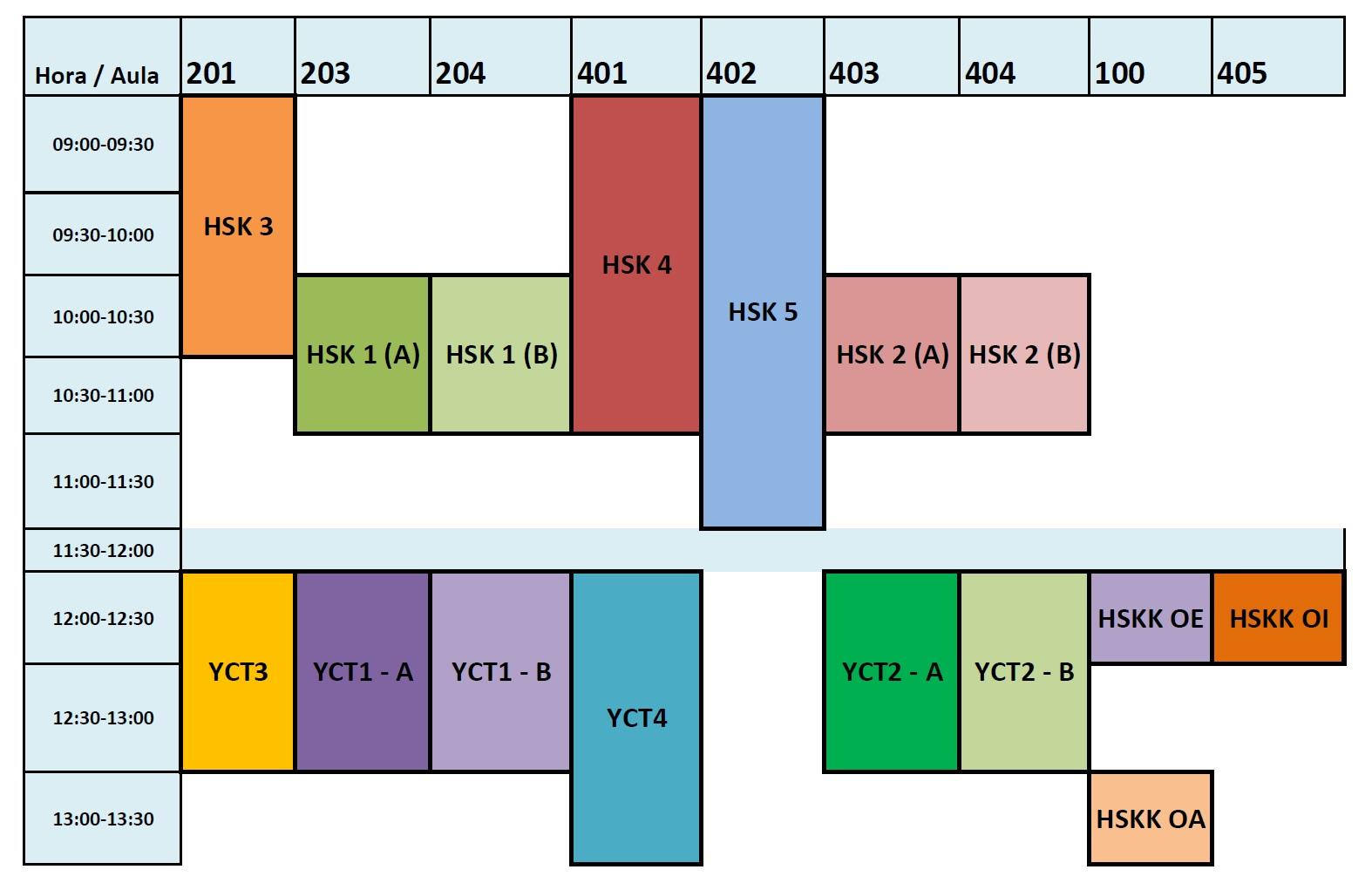 horarios de los ex menes oficiales hsk yct hskk 2014